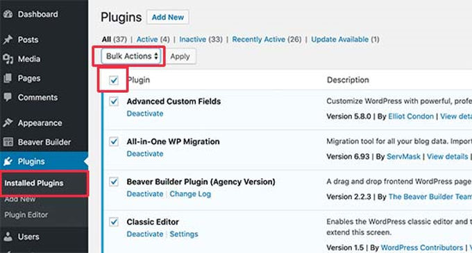 Wordpress plugins deactiveren