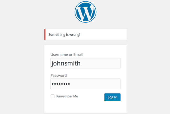 geen login hints wordpress