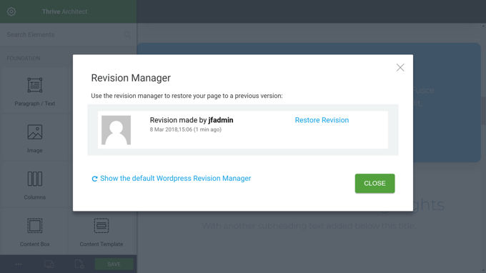 Thrive Architect Review Revisie manager