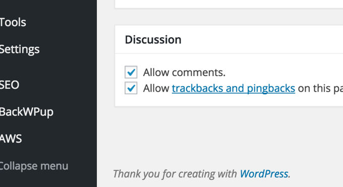 wordpress backend footer text