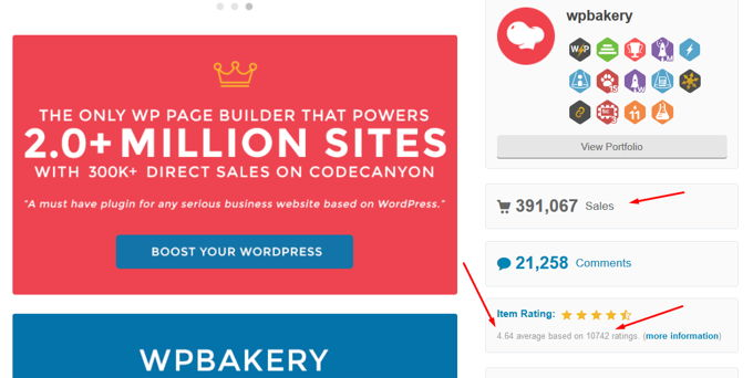 WP Bakery PageBuilder rating