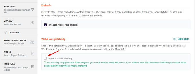 WP-Rocket review WebP afbeeldingen
