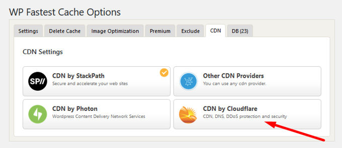 WP fastest cache Cloudflare settings