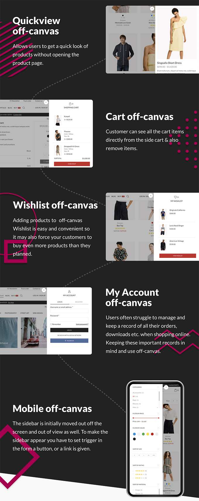 X-Store Theme review Woocommerce off canvas features